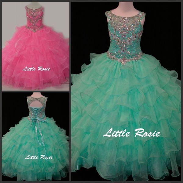 Little Rosie Kids Abiti da sera Scoop Neck Perline di cristallo Strass Diamanti Verde menta Bambini Abiti da spettacolo Abiti da ballo per ragazze Vestito da ballo