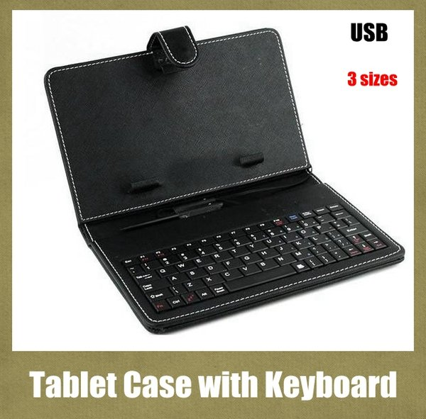 with keyboard & micro usb tablet PC case leather PU case fit for 9/9.7/10.1 inch PDA MID tablet PC black purse style cover adjustable PCC016