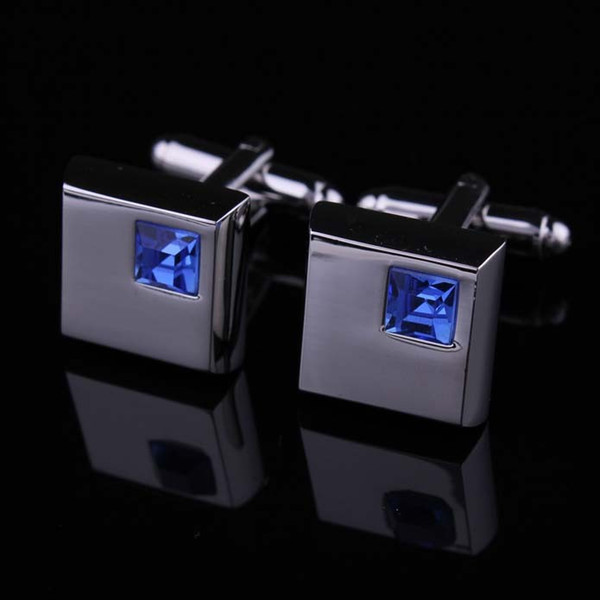2016 fashion blue crystal cufflinks for mens shirt cufflinks hot wedding cufflinks gift with 3 colors for choosing W133