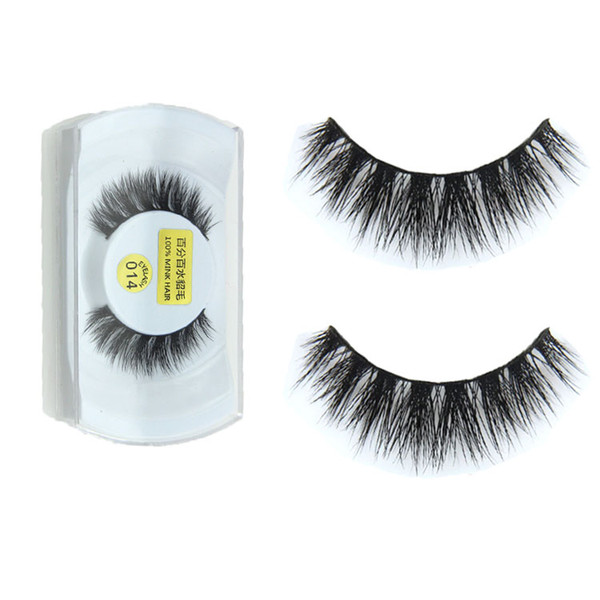Wholesale- 1 Pair New 100% Real Mink Natural Thick False Fake Eyelashes Eye Lashes Makeup Extension Tools
