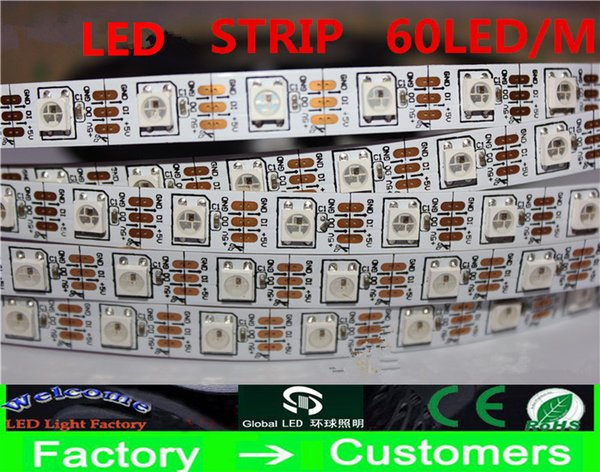 Non waterproof DC5v 5m 300 leds 60 pixels/m 5050 SMD ws2812 ws2811 RGB led strip lights white PCB Programmable Addressable Free shipping