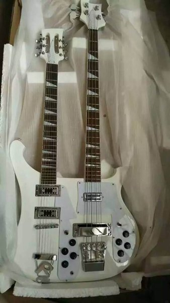 China Guitar blank headstock new double neck guitar model 12 strings guitar + 4 String BASS double neck electric Guitar in white 151012