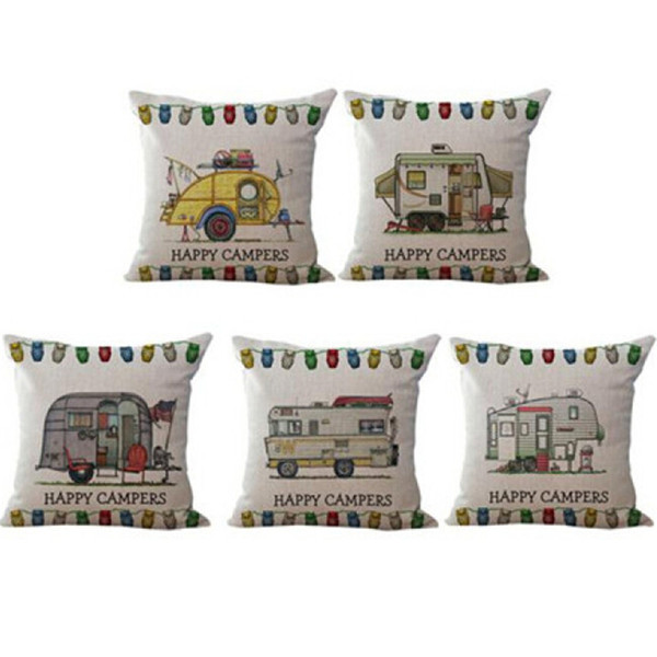 top popular 45*45cm Happy Campers Cushion Cover Linen Pillow Case Camping car pillow cover Square Decorative Pillow Cases 2019