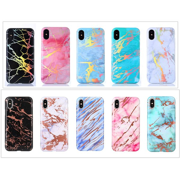 Holo Electroplating Back Cover TPU Plated Marbling Texture Phone Shell Rose Gold Chrome Marble Case for iPhone X 6 6S 7 8 Plus