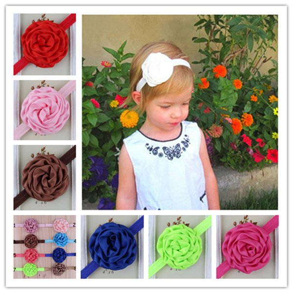 New design Children's Hair Accessories with satin roses flower hair band cute baby elastic headbands 16 color photography infant headdress