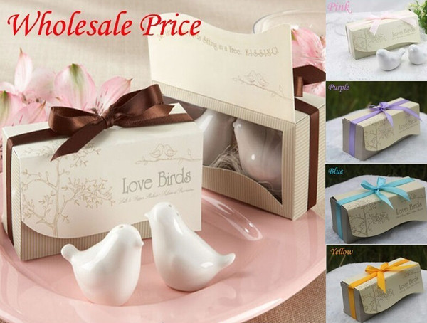 2014 New Fashion wedding favors 100set =200 pcs Love Birds Salt and Pepper Shaker Party favors Fedex free shipping