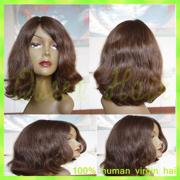 Best Short Full Lace Human Hair Wigs Wavy Unprocessed Virgin Brazilian Hair Wigs Rpg Show Gluless lace Front Wig Free Shipping