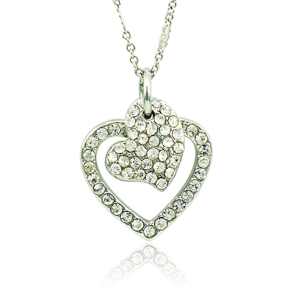 New Arrival Fashion Pendant Necklace White Rhinestone Heart Charms Silver Plated Necklace For Women Valentines Jewelry