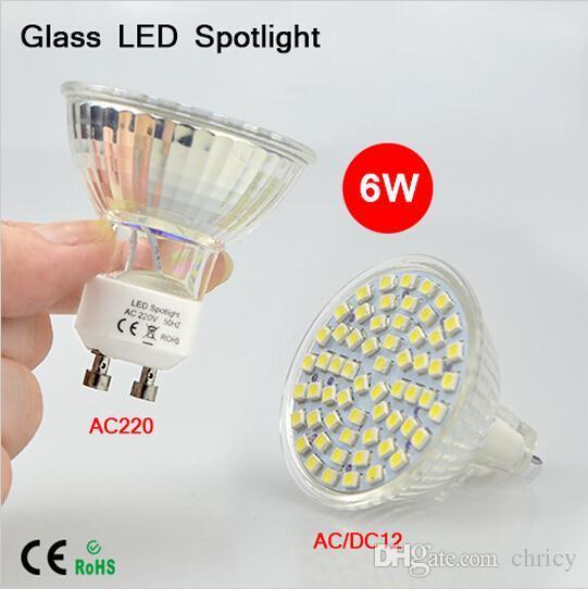 Super bright Full Watt 6W GU10 MR16 LED lamp Bulbs Heat-resistant Glass Body AC 12V 220V 60 LEDs Spotlight 3528SMD For Indoor lighting