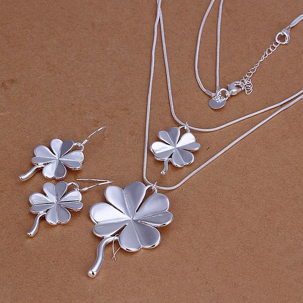 High grade 925 sterling silver Clover piece jewelry set DFMSS0184 brand new Factory direct 925 silver necklace earring