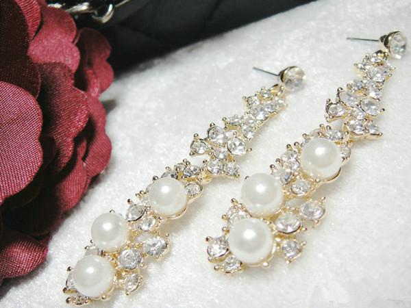 12 pcs / lot Fashion elegant tassel imitated pearl earrings new simple gold color earrings for women