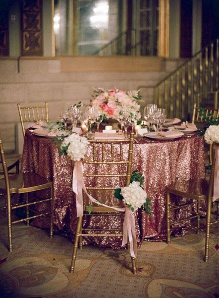 best selling Buy It now !! Wedding Party Decoration 132'' Round Pink Gold Sequin Table Linen Sequin Tablecloth Cocktail Table