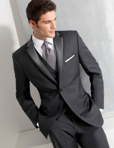 Light Grey Men Suits For Wedding Slim Fit Groomsmen Tuxedos Three Pieces Handsome Wedding Suit (Jacket+Pants+Vest)