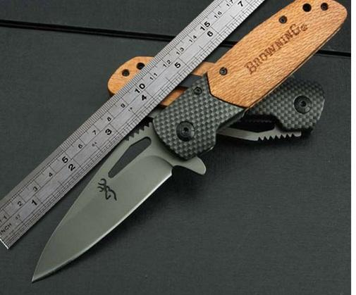 Browning X28 fast opening folding Knife With carbon + Wood Handle 3Cr13Mov Blade Pocket Tactical Knife Camping hunting knife
