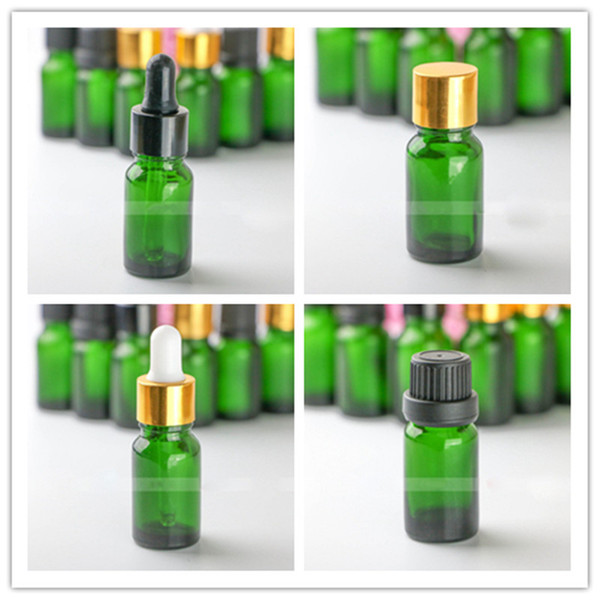 Hot Wholesale 10ml Green Glass e liquid ejuice dropper bottles with 7 style plastic screw dropper cap for perfume olive oil