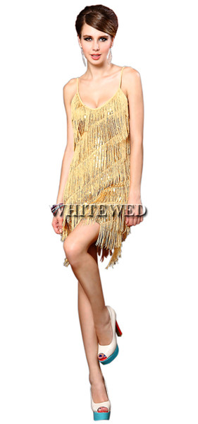 Speakeasy Prohibition 1920'S Latin Salsa Tango Ballroom Dance Dress Clothes Dancewear Wear Costumes With Fringe And Tassel Cheap for adults