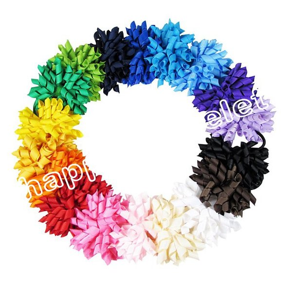 "20pcs girl 4"" korker Hair bows clips curly grosgrain ribbon ponytail Corker satin hairband flowers bobbles hair ties elastic headband PD007"