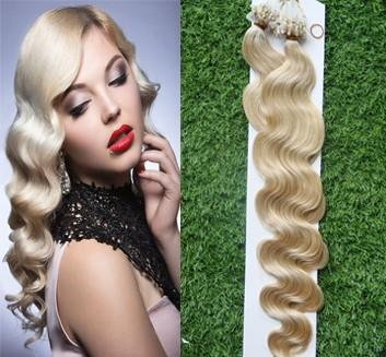 Hot sale 60# Micro link Nano Loop Ring Human Hair Extensions 100beads+ Grade 6A Unprocessed Indian Remy Hair Body Wave STOCK