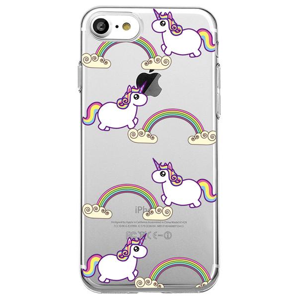 Unique Cute rainbow Unicorn Clear Transparent Soft Silicon Phone Case Back Cover for iPhone 8 8s plus iphone X TPU Coque Carcasa Funda