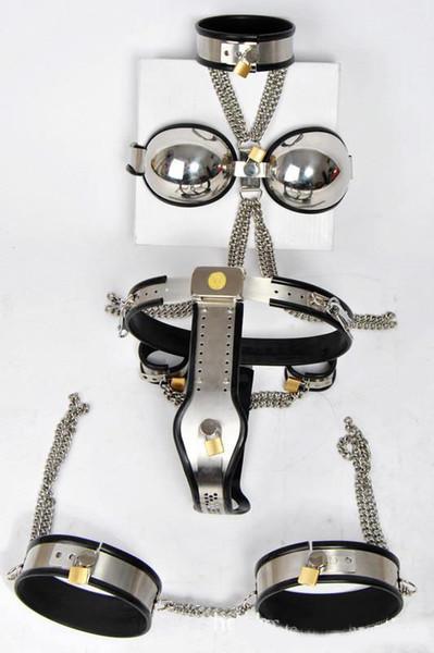 Nuovo caldo !! Cintura di castità in acciaio a T regolabile femminile / Coscia / reggiseno / colletto / manette (set 5 pezzi in 1) set di castità 3 colori