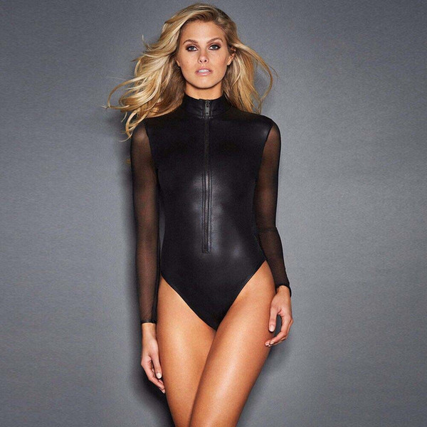 Plus Size M-2XL Hot Sexy Women Long Sheer Mesh Sleeve Lingerie Erotic Bondage Latex Catsuit Nightwear Thong Leotard Bodysuit