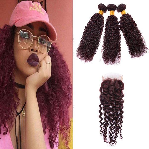 Burgundy Virgin Brazilian Human Hair 3Pcs Curly Wine Red Hair Weave 99J Kinky Curl Hair Bundle Wave With Closure