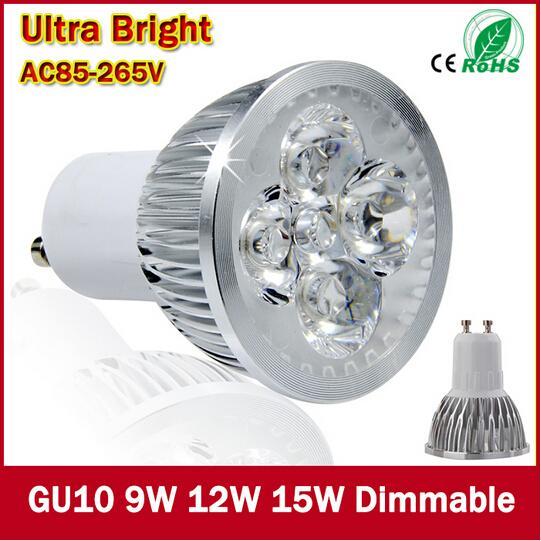 Les ampoules lumineuses superbes d'ampoules de 9W 12W 15W E27 MR16 GU10 LED 110V 220V Dimmable ont mené le downlight blanc chaud / froid de LED