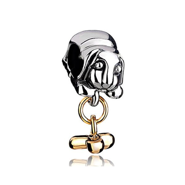 Alloy Material Rhodium Silver Color Dog and Gold 3 Sticks Bone Bead Charm Fit Pandora Bracelet