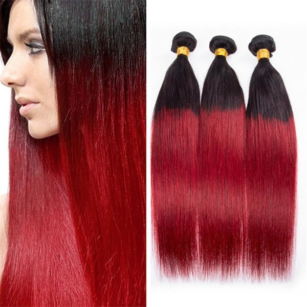 Two Tone 1B Red Ombre Straight Hair 3 Bundles Black to Red Ombre Brazilian Virgin Hair Weaves 3Pcs Lot Extensions