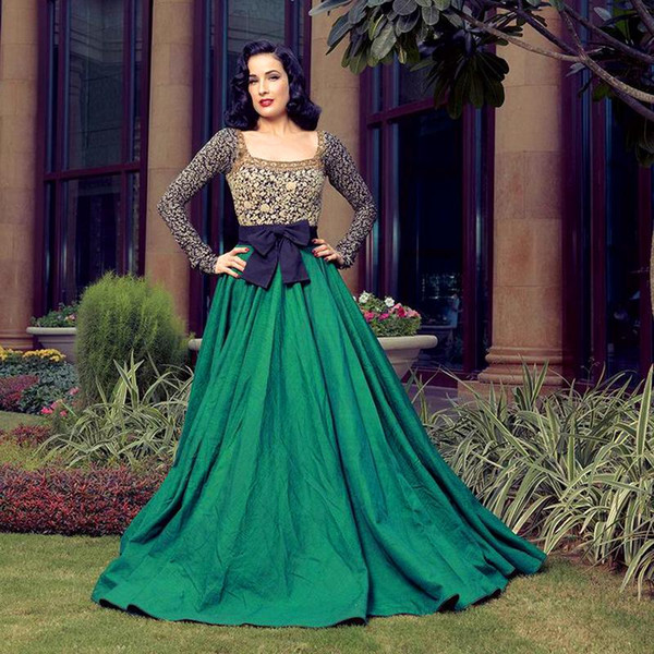 2018 Lace Gold Mother Evening Dresses With Long Sleeves Square Collar Aline Floor Length Taffeta Green Evening Gowns