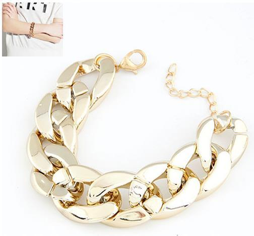 New Fashion Punk Personality CCB Coarse Chain Brief Elegant Bracelet for Women