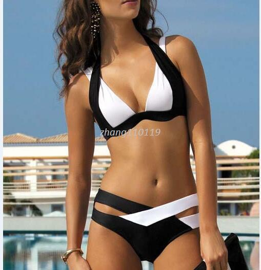 top popular New Summer Sexy Patchwork Bikini Woman Swimsuit 2018 Bandage Swimwear Best Soft Swimsuits Bathing Suit Black And White 2019