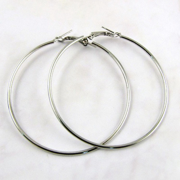 top popular Titanium Steel Big Circle Huggie Hoop Earrings Trendy Silver Exaggerated Big Earrings For Women Mixed 50mm-100mm Size Free Shopping 2019