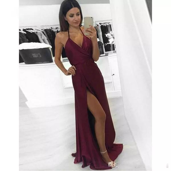 Vestido de noche sexy 2017 abiye gece elbisesi sin mangas frente raja sin respaldo satén largo borgoña vestidos de baile