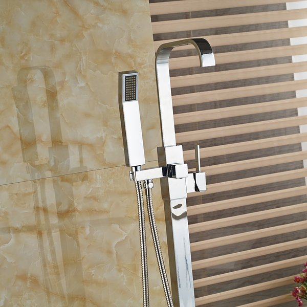Bathroom Tub Faucet Free Standing Floor Mounted Square Shower Mixer Tap Tub Filler + Hand Shower