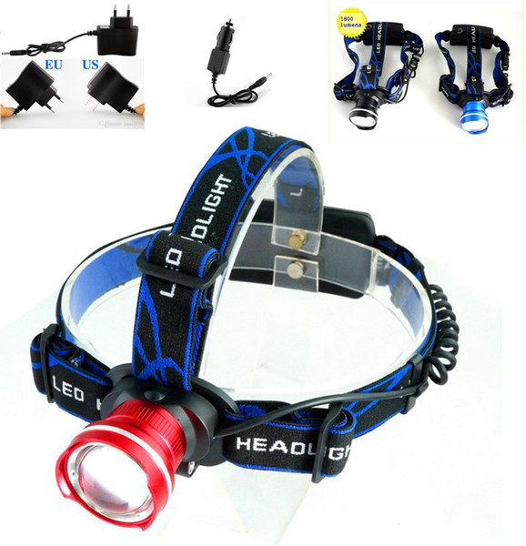 Waterproof Bicycle Fishing Camping Headlamp CREE XM-L T6 LED 1800Lm Zoomable Headlight Including Charger Free Shipping