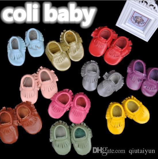 Bébé mocassins doux semelle moccs en cuir véritable prewalker chaussons tout-petits bébés frange vache en cuir mocassin chaussures mocassin chaussure 5 paire B56