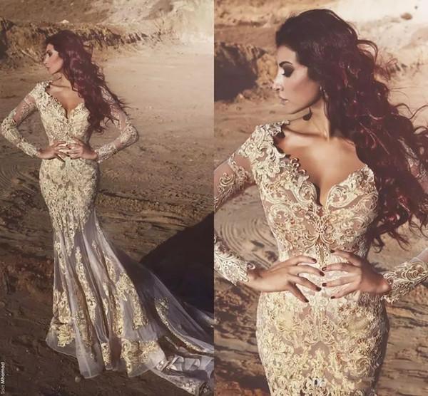 2018 New Arabic Mermaid Long Sleeves Lace Evening Dresses Deep V neck Beads Appliqued Dubai Evening Gowns Vestidos De Fiesta