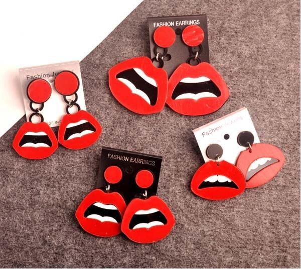 European Fashion Punk Jewelry Club Red Sexy Lips Earrings For Women Hip Hop Accessories Hot Wholesale