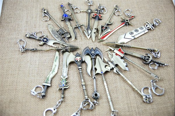 30pcs LOL Champions Weapon Sword League of Legends Zinc Alloy Keychains Exquisite Anime Accessories Key Ring Chain 23 designs D207