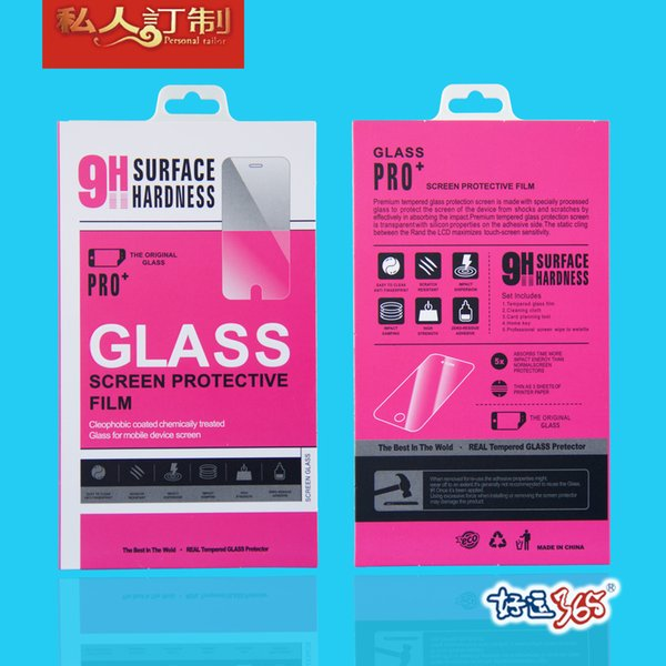 500pcs/lot Colorful Retail Package Crystal Box Bags Tempered Glass Film Retail Packaging Box for iphone 6 5s Paper Package