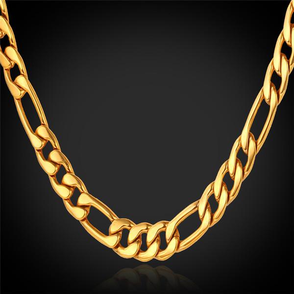 Clásico collar de cadenas Figaro acero inoxidable 316L / 18K oro verdadero plateado collares de los hombres con 18 K sello moda joyería de los hombres