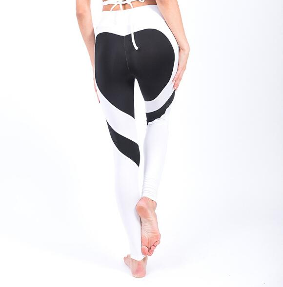 2017 Heart Yoga Pants 7Color Women Fitness Sexy Hips Push Up Leggings Mesh Sport Running Tight Pants Women Fitness Slim Gym Leggings