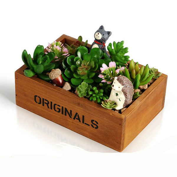 Holz Fleischigen Sukkulenten Pflanzen Blumentopf Box Garten Blumentopf Dekorative Vintage Natürliche Blume Pflanzer Sukkulenten Holzkiste