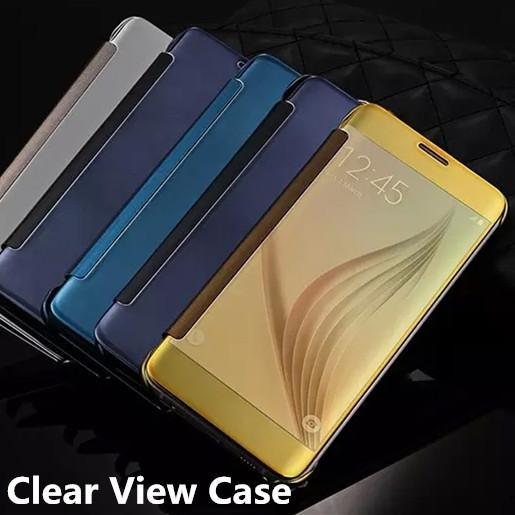Custodia rigida in pelle specchiata Custodia rigida in plastica placcata trasparente Trasparente Visualizza copri portafoglio cromata per Samsung Galaxy S7 bordo S7 Nota 5