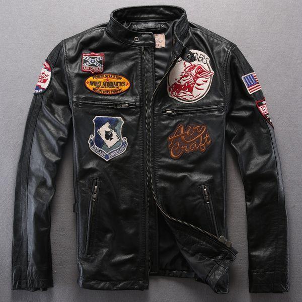 Man Genuine Leather Jacket AVIREX first layer calfskin leather jackets AVIREX AEROMAUTICS multi-standard racing suits motorcycle coats