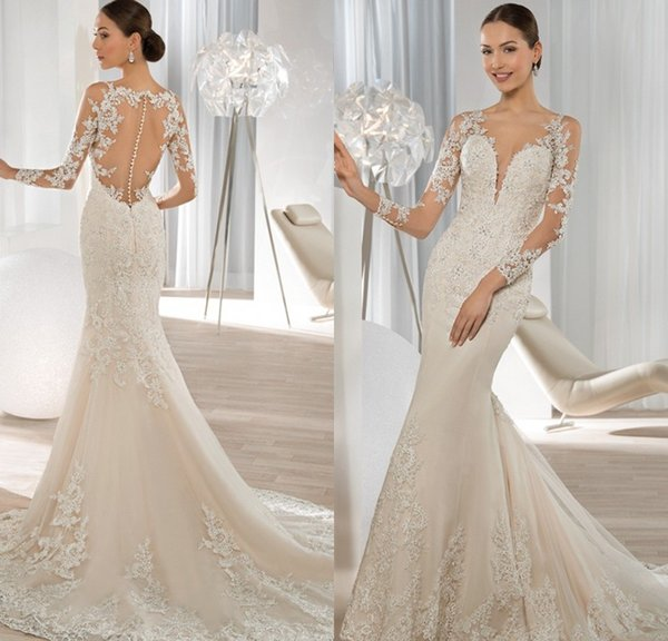 Exquisite Long Sleeve Mermaid Wedding Dresses 2015 Lace Applique ...