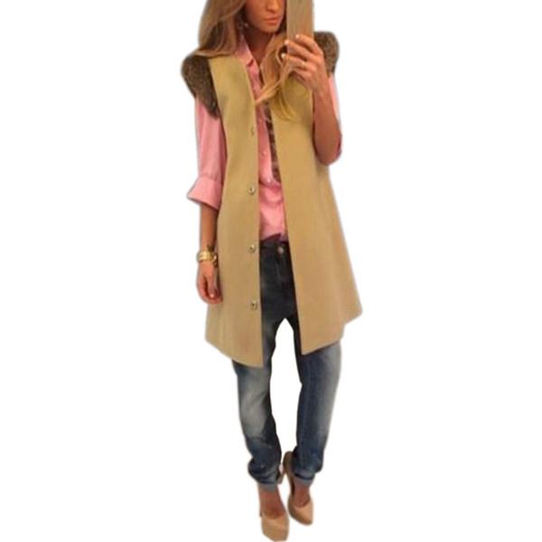 2015 Winter Women Faux Fur Vest Cardigan Sleeveless Long Coat Patch Button Down Waistcoat Slim Female Coats Gilet Jackets veste