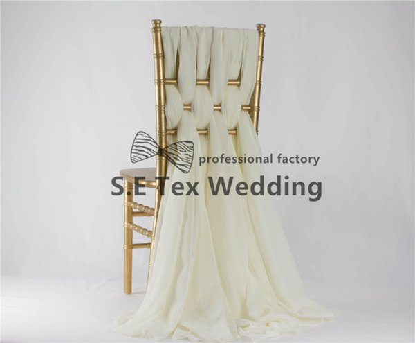 35cm*190cm Chiavari Chiffon Chair Sash With Buckle For Wedding And Event Decoration In Ivory