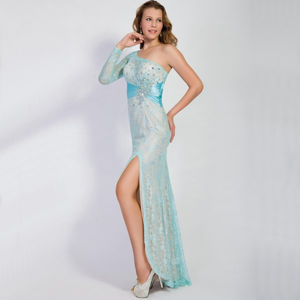 Mint Green Long Sleeve Prom Gowns Beaded Crystal Split Side One ...